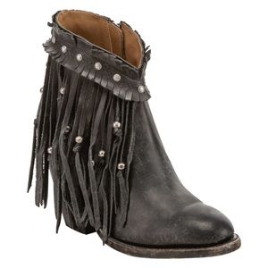 Lucchese Black Farrah Beaded Fringe Booties Round